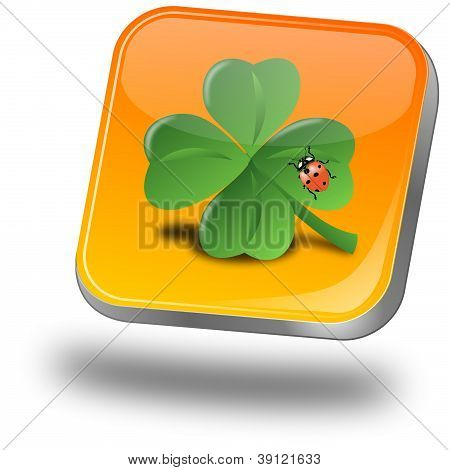 Button with shamrock and ladybug