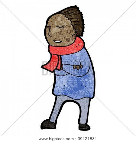 cartoon cold person in scarf