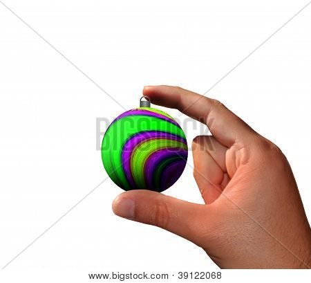 Hand with Christmas ball