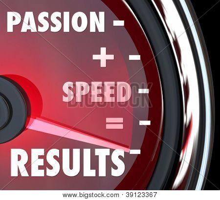A red speedometer with the saving Passion plus Speed equals Results in words to symbolize achieving a goal with an ambitious attitude and driven mission