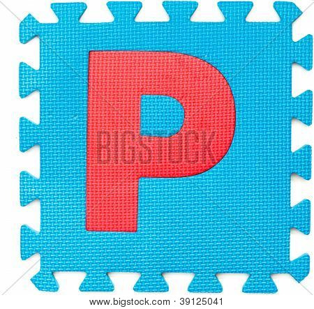 Rubber Alphabet P Isolated