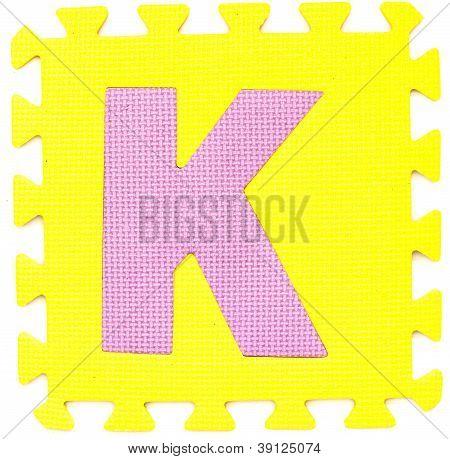 Rubber Alphabet K Isolated