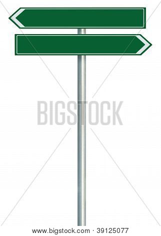 Right Left Road Route Direction Pointer This Way Sign, Green Isolated Roadside Signage White