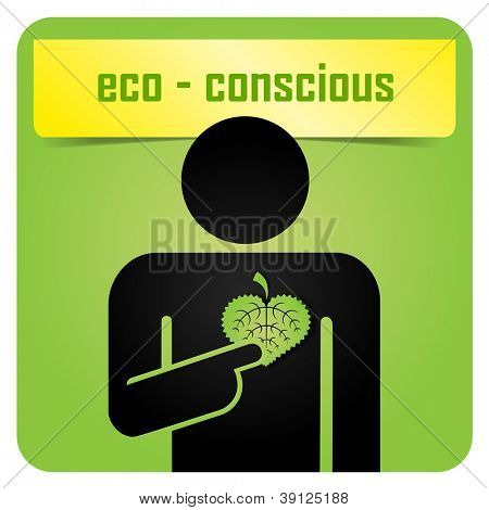 A man holding green leaf and sending message about ecology