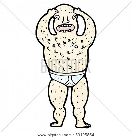 cartoon hairy man in underpants