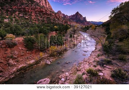 Watchman Peak And Virgin River In The Evening