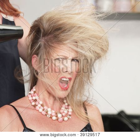 Woman's Hair And Blow Dryer