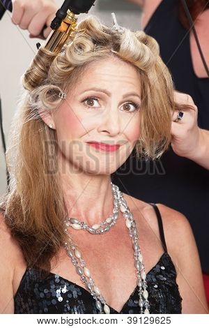 Woman Getting Hair Done