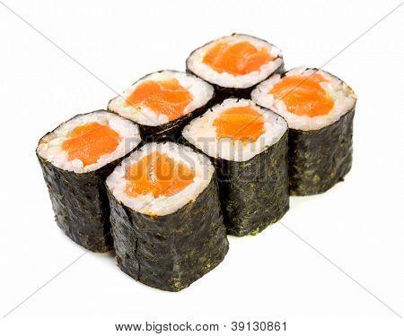 Japanese Cuisine - Sushi (Roll syake maki) on a white background