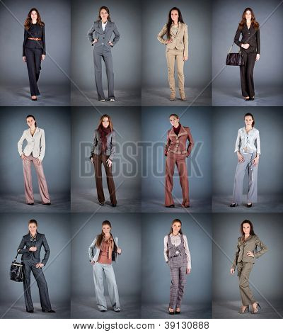 Collection of women's trouser suits on a dark background