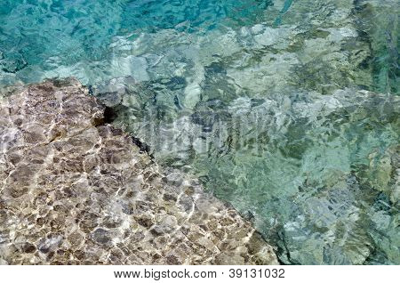 Rock Under Clear Water