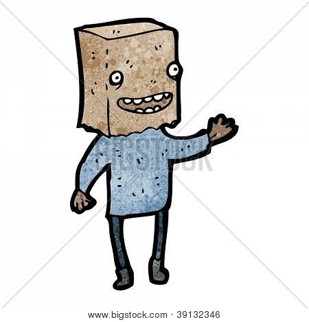 hombre feo de dibujos animados con el bolso en la cabeza