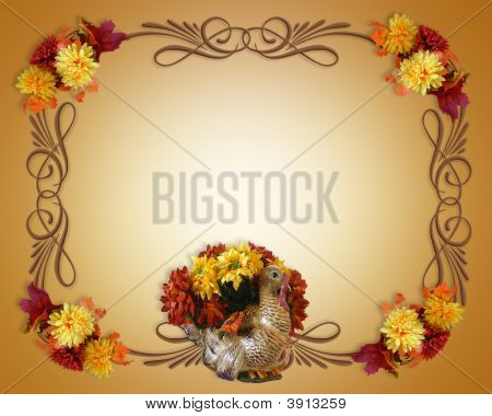 Thanksgiving Flowers In Ceramic Turkey Border
