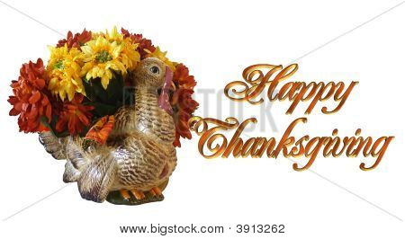 Thanksgiving Turkey Vase And Flowers Card