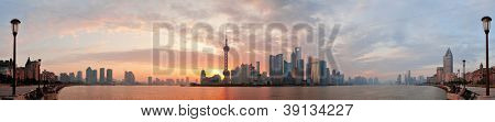 Shanghai morning city skyline silhouette panorama over river