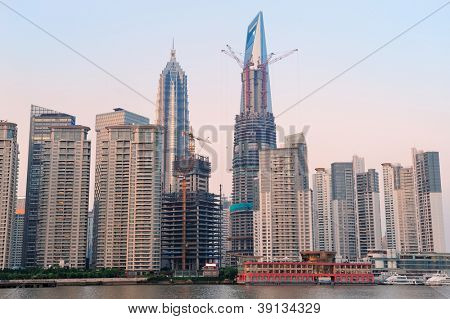 Shanghai urban architecture and skyline at sunset
