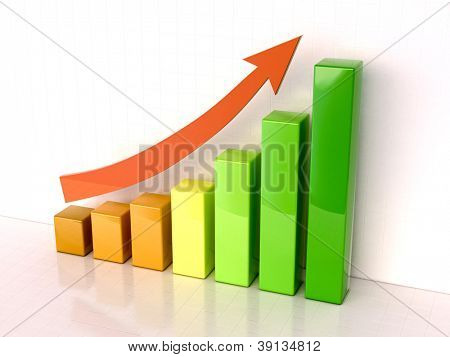 Shiny color bar graph indicating growth on light background