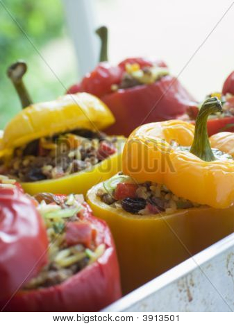 Bell Peppers Stuffed With Spiced Rice And Dried Fruits
