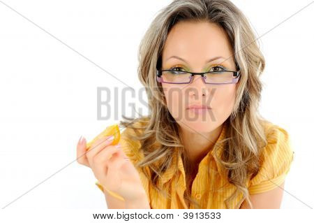 Young Businesswoman Eating Orange
