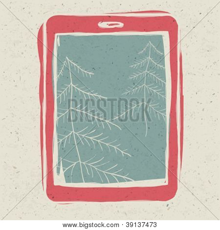 Christmas trees on tablet device screen, technology concept illustration, vector, EPS10.