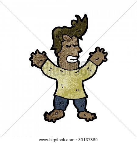 cartoon man with swollen hands and feet