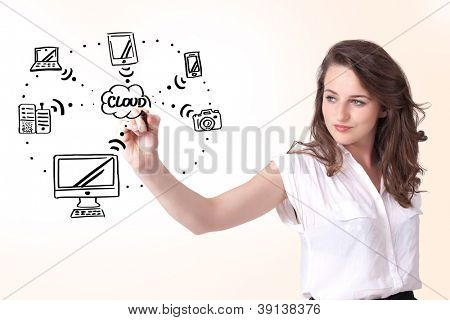 Young woman drawing a cloud computing on white whiteboard