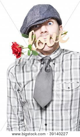 Funny Man Saying Sorry With Love And A Red Rose