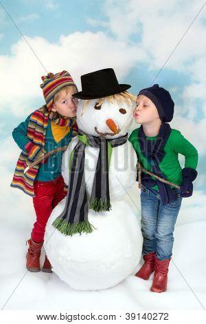 Kissing a snowman