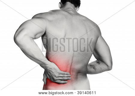 A muscular man with a backache
