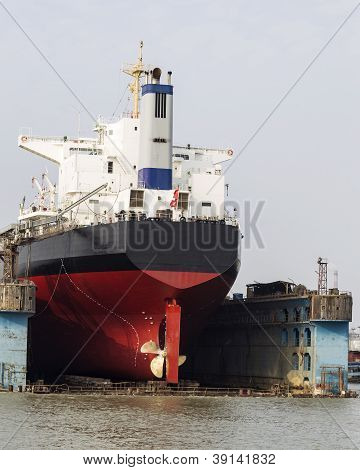Shipping Vessel Docked For Maintenance