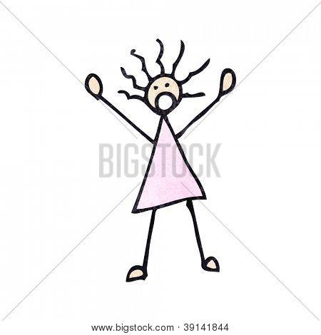 mujer de palo asustado de dibujos animados