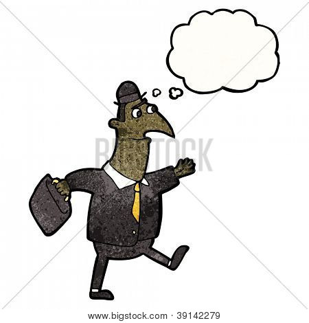 cartoon banker walking to work
