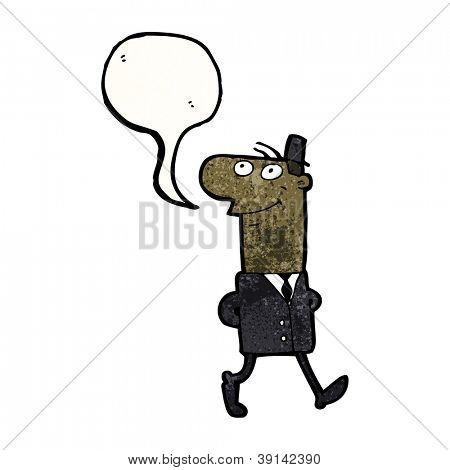 cartoon businessman walking to work