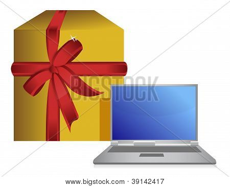 Gift Box And Laptop Present