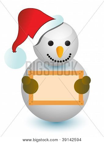 Snowman Holding Wood Sign
