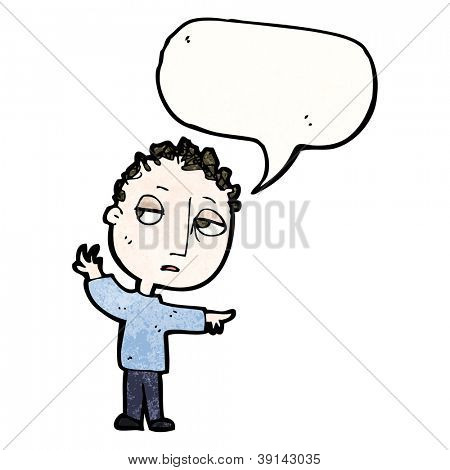 cartoon boy pointing way with speech bubble