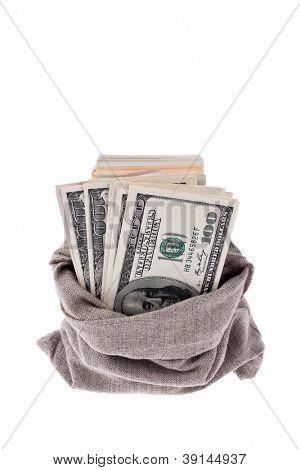 many dollar bills in a sack