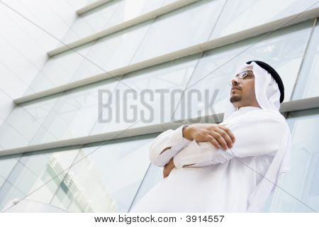 Middle Eastern Man Stood Outside Offices
