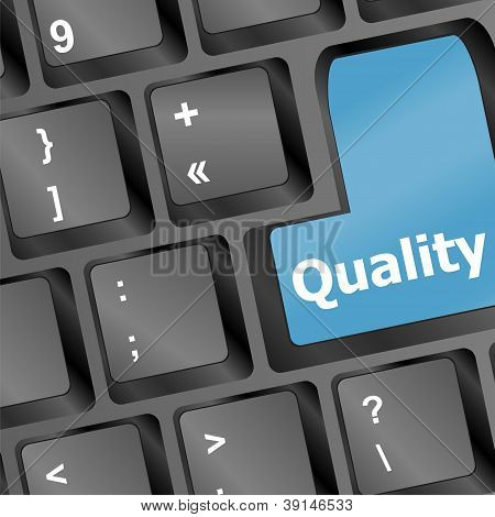 Quality Button On Computer Keyboard Showing Business Concept