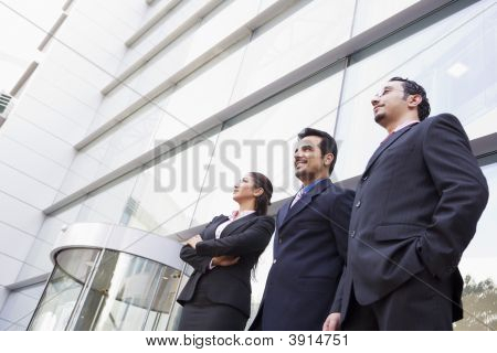 Middle Eastern Business Men / Women Stood Outside Offices