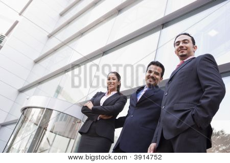 Middle Eastern Business Men / Women Stood Outside Offices