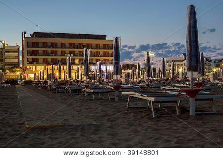 Night On The Sandy Beach In Italy