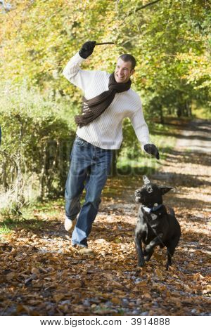 Man Throwing Stick For Dog In Woodland
