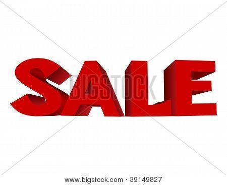 roter Text Verkauf auf auf weißem Hintergrund.