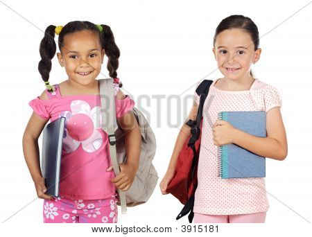 Two Girls Students Returning To School