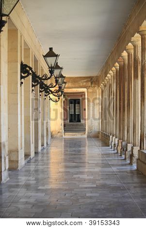 Colonnade in Corfu'