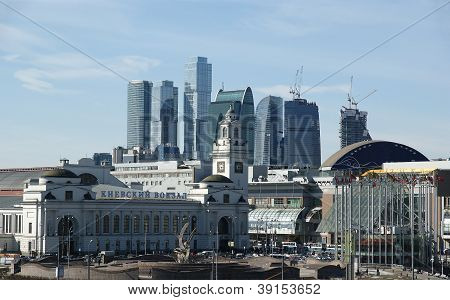 Kievsky Train Station And International Business Centre As Seen From The Moskva River Embankment. Mo