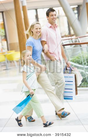 Family In Shopping Mall With Bags