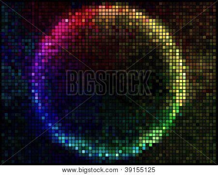 Colorful Round Square Pixel Mosaic Vector Banner.multicolor Abstract Beautiful Lights Disco Club Bac