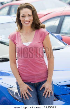 Woman Sat On Car